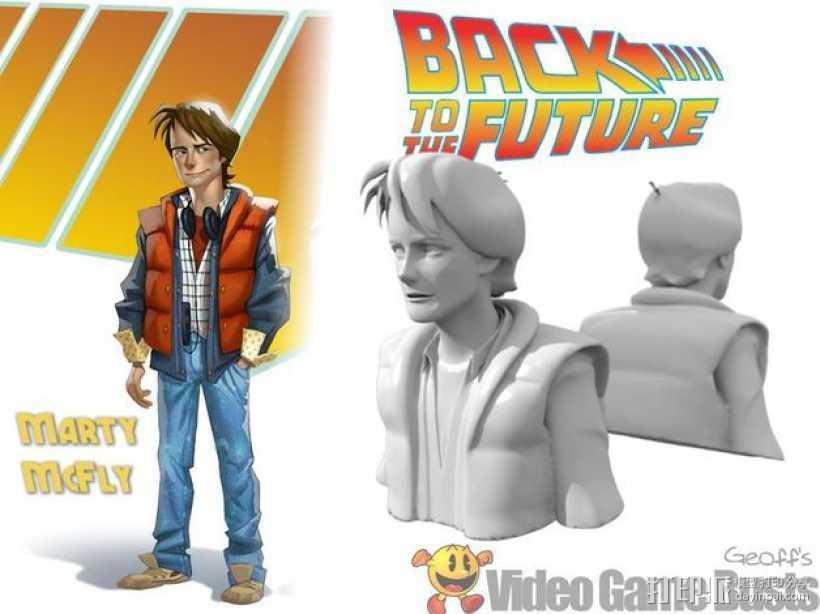 Marty McFly 半身雕塑 3D打印模型渲染图
