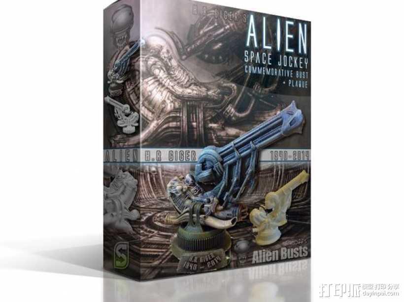 Alien Jockey外星人雕像 3D打印模型渲染图