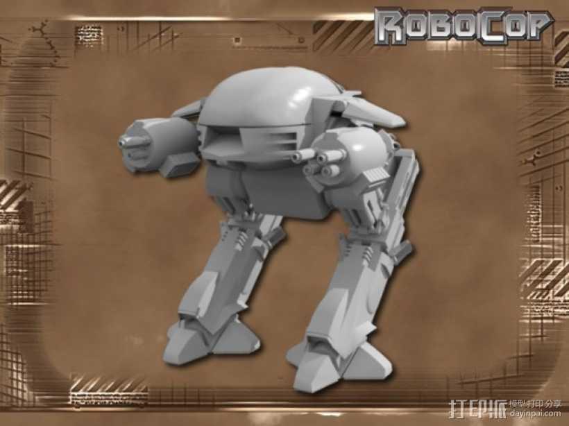 ED-209机器人 3D打印模型渲染图