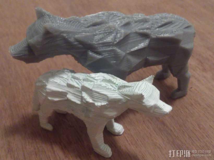 低面数冰原狼 3D打印模型渲染图