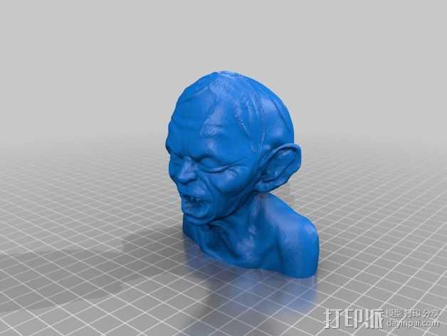 Gollum咕噜半身像 3D打印模型渲染图