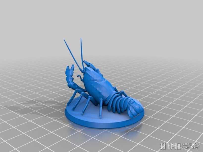 大龙虾 3D打印模型渲染图