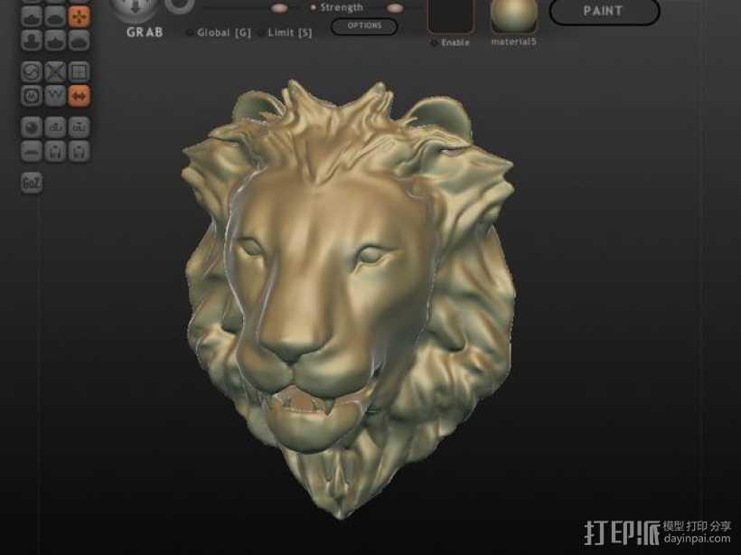 狮子头墙饰 3D打印模型渲染图