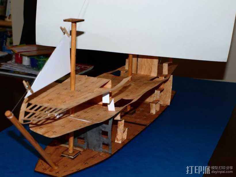 加利恩帆船 3D打印模型渲染图
