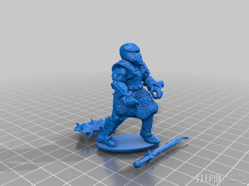 武士模型 3D打印模型渲染图