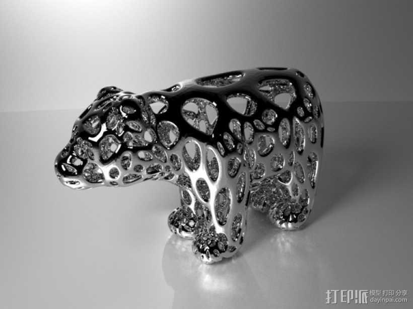 小熊 泰森多边形风格 3D打印模型渲染图
