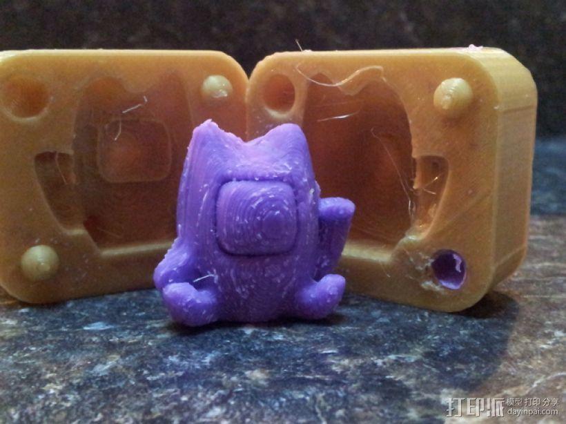 招财猫模具 3D打印模型渲染图