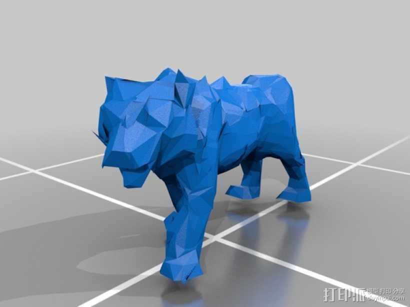 低面数老虎模型 3D打印模型渲染图