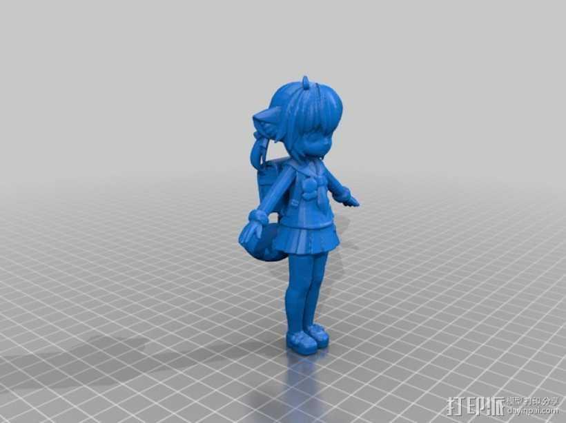 狐娘绀子 3D打印模型渲染图