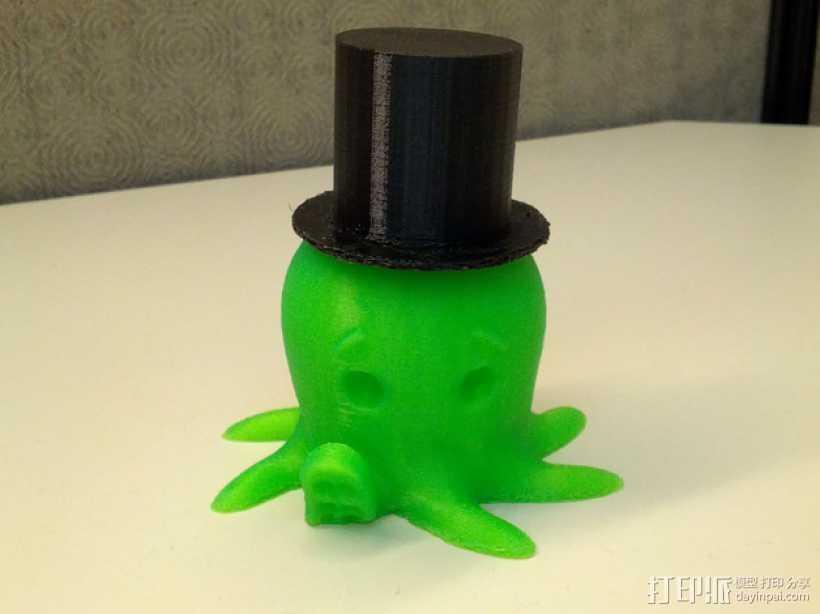 戴礼帽的章鱼 3D打印模型渲染图