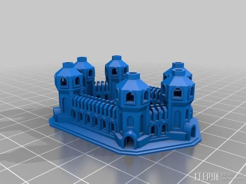 六塔城堡 3D打印模型渲染图