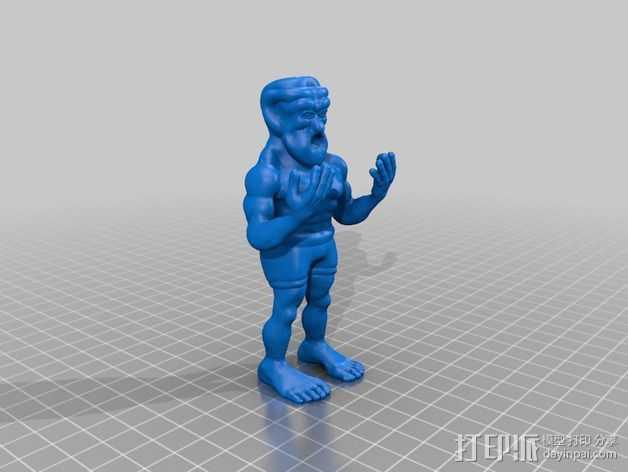 魔像石人 3D打印模型渲染图