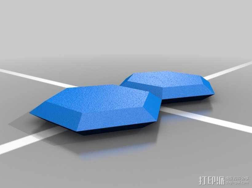 六边形宝石 3D打印模型渲染图