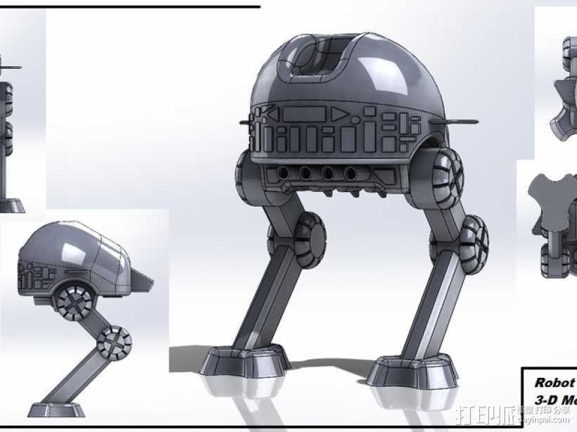 步行机器人 3D打印模型渲染图