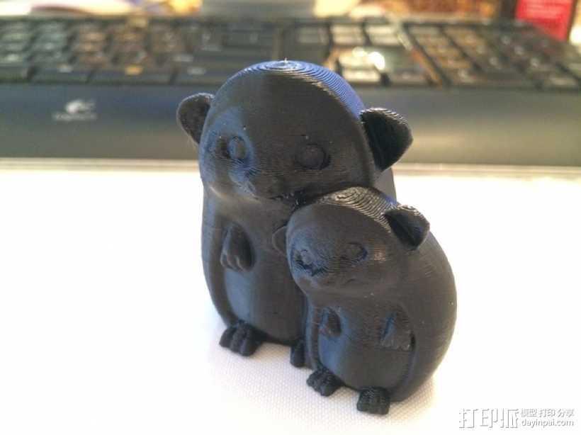 依偎的刺猬 3D打印模型渲染图