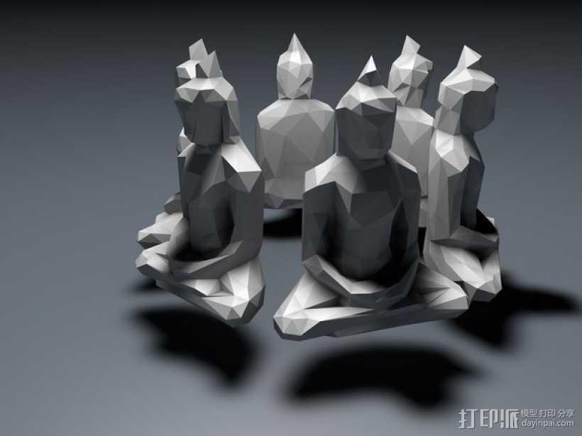 低面数菩萨雕塑 3D打印模型渲染图