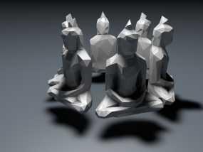 低面数菩萨雕塑