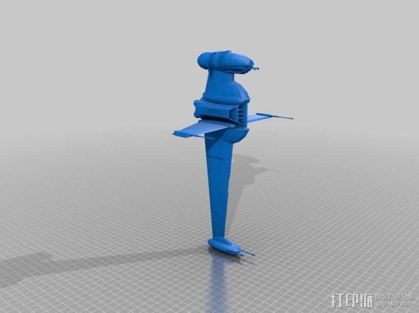 星球大战B翼战斗机 3D打印模型渲染图