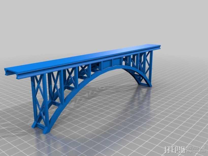 桁拱桥 火车道 3D打印模型渲染图