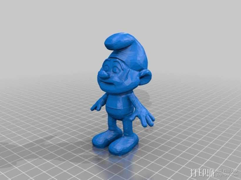 蓝精灵爸爸 3D打印模型渲染图
