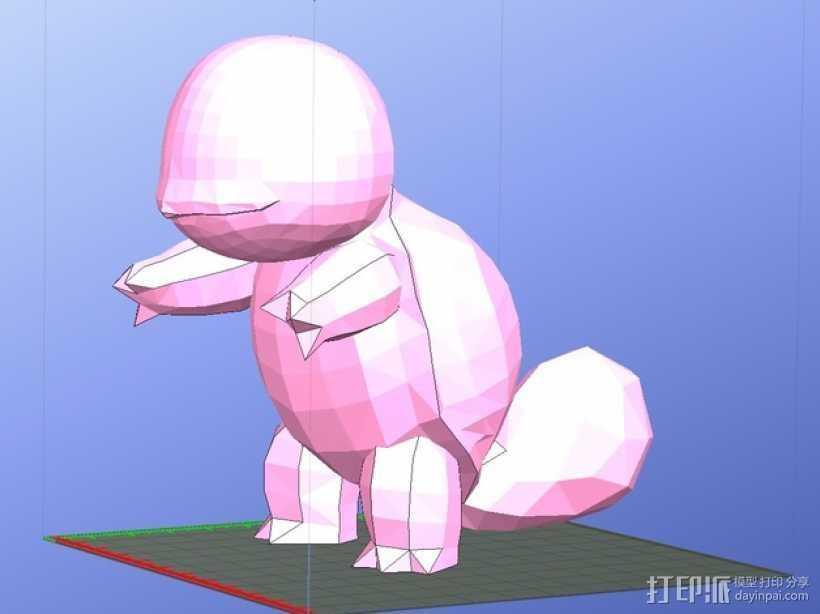 杰尼龟  3D打印模型渲染图