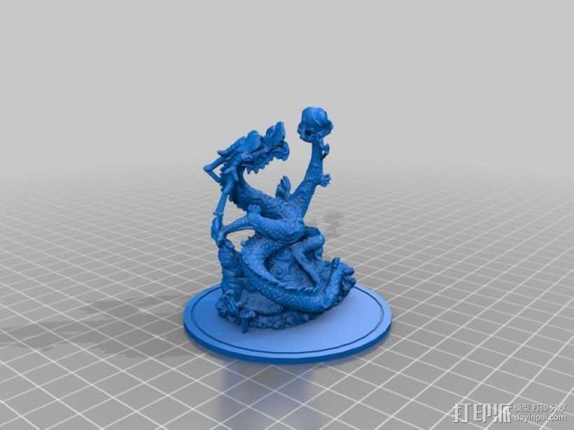 游龙戏珠  3D打印模型渲染图