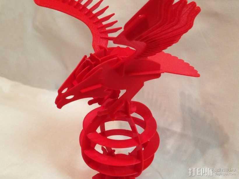 拼图鹰 3D打印模型渲染图