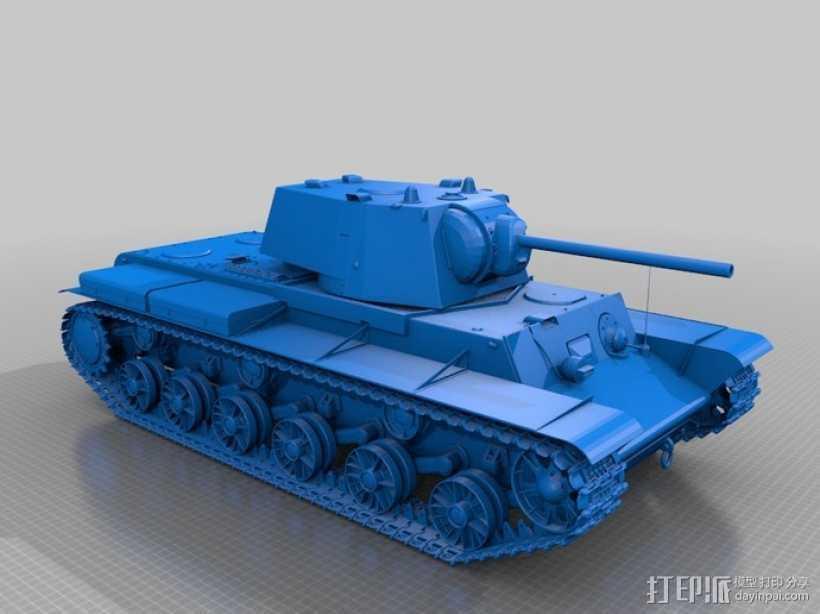 KV-1重型装甲坦克 3D打印模型渲染图