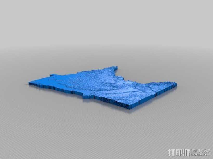 明尼苏达州地形图 3D打印模型渲染图