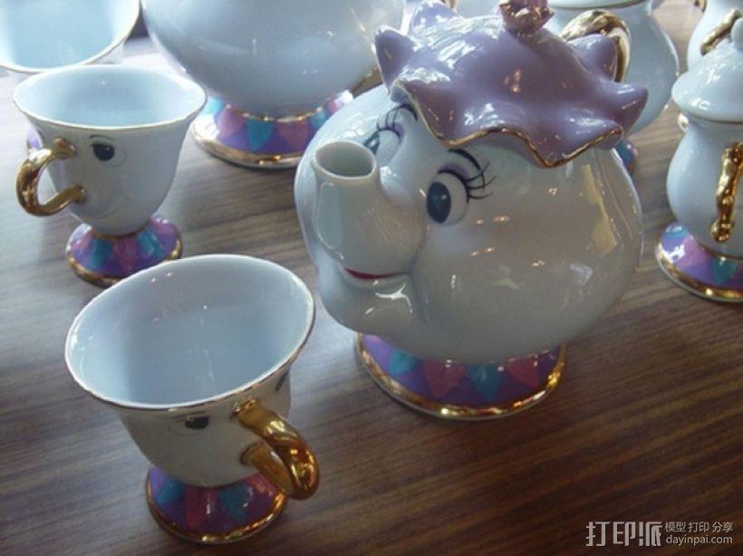 茶壶太太和杯子 3D打印模型渲染图