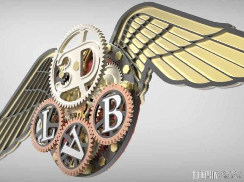 3D-lab徽章标志 3D打印模型渲染图