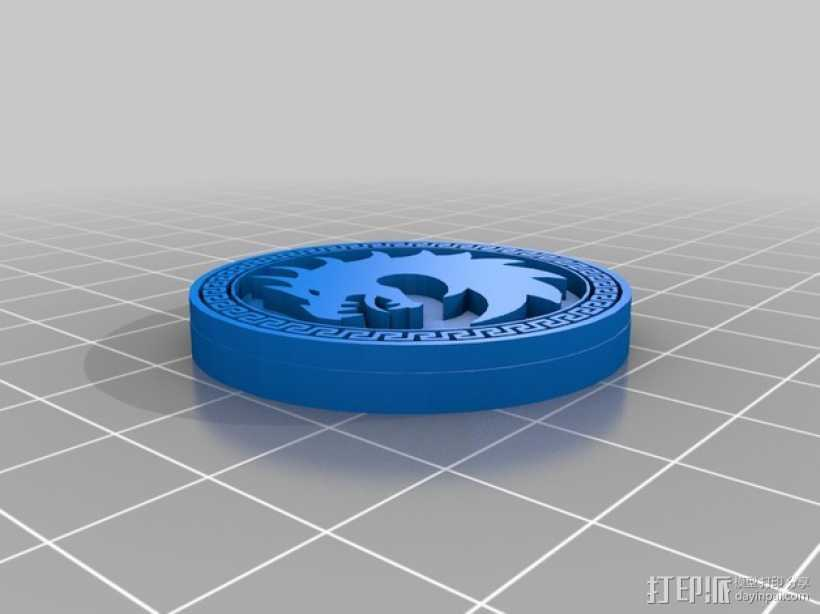 Dragon Army 硬币徽章 3D打印模型渲染图