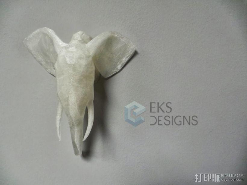 几何低面数大象头部模型 3D打印模型渲染图