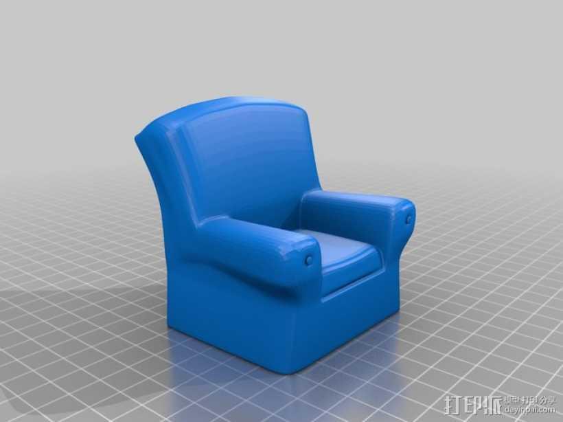 单人沙发 3D打印模型渲染图