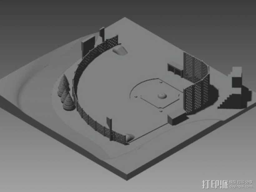 棒球场地 3D打印模型渲染图