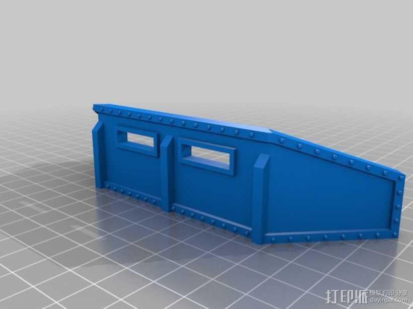 战争游戏防护墙 3D打印模型渲染图