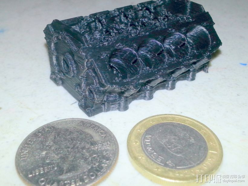 V8发动机 3D打印模型渲染图