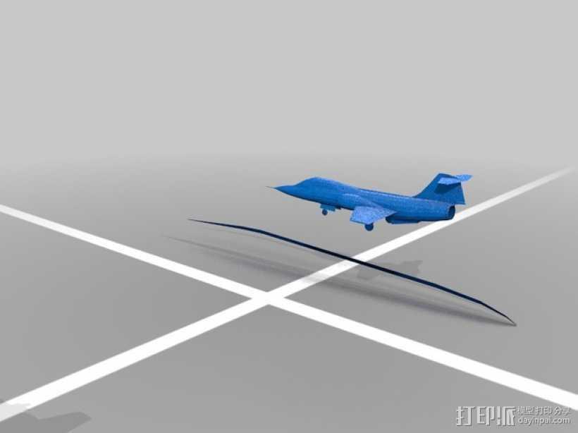 F-104战斗机 3D打印模型渲染图