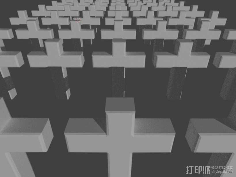墓地十字架 3D打印模型渲染图