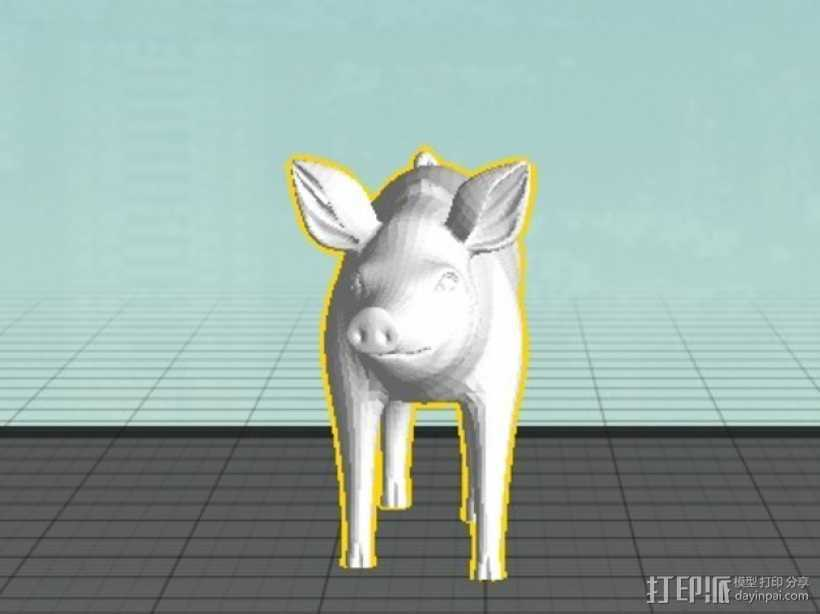 猪 3D打印模型渲染图