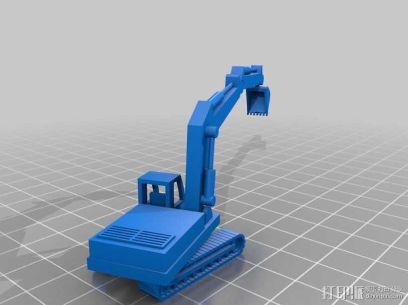 挖掘机 3D打印模型渲染图