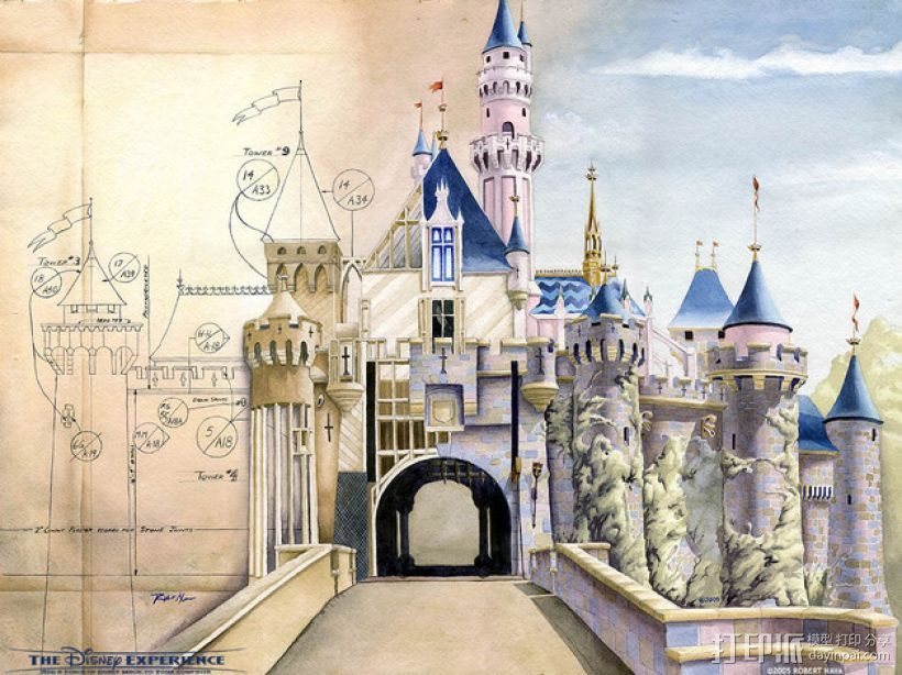 魔法城堡 3D打印模型渲染图