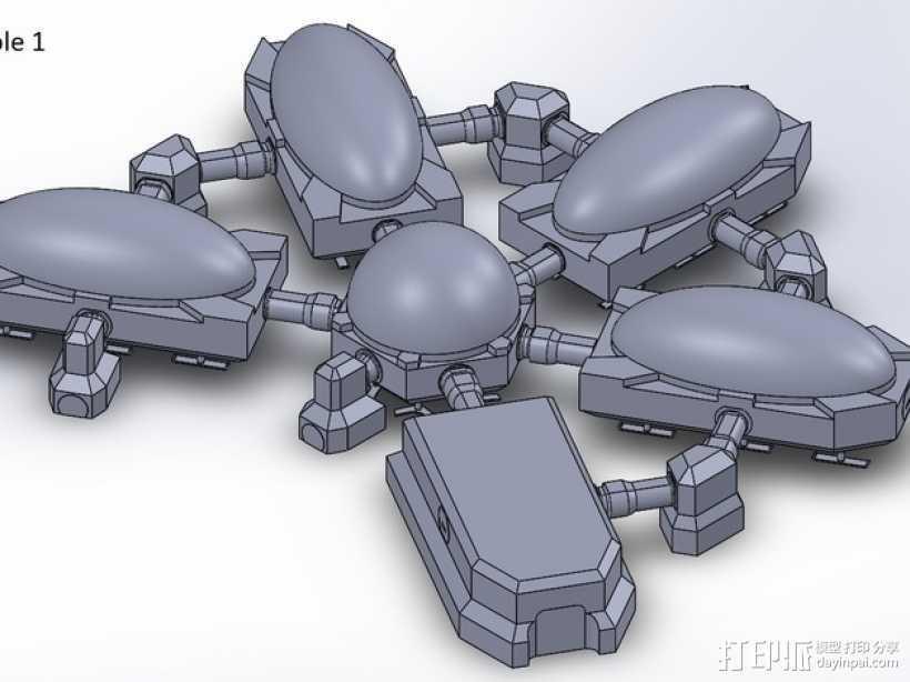 模组化火星基地 3D打印模型渲染图