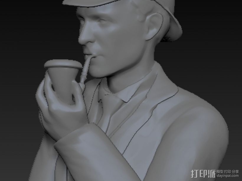 夏洛克福尔摩斯半身像 3D打印模型渲染图