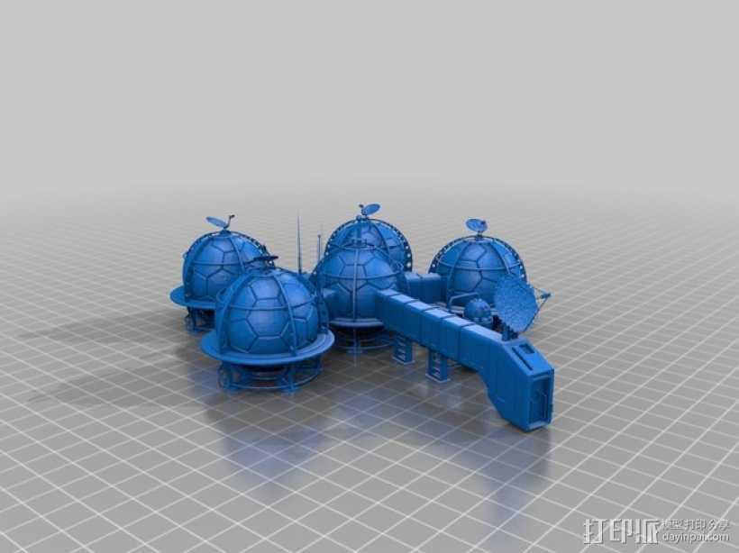 火星基地 3D打印模型渲染图