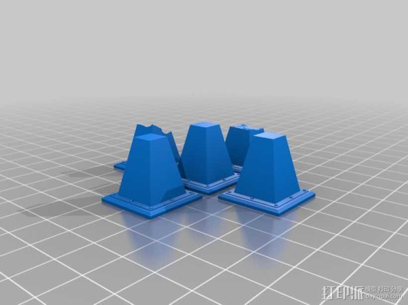 路障和地雷  3D打印模型渲染图