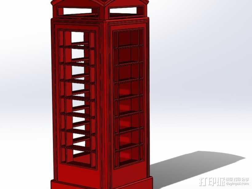 电话亭  3D打印模型渲染图