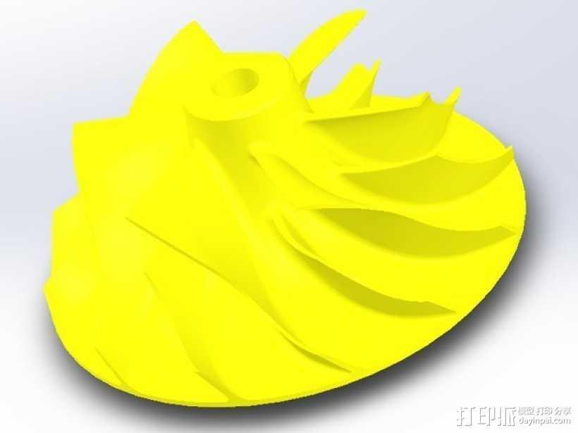 涡轮增压器涡轮 3D打印模型渲染图