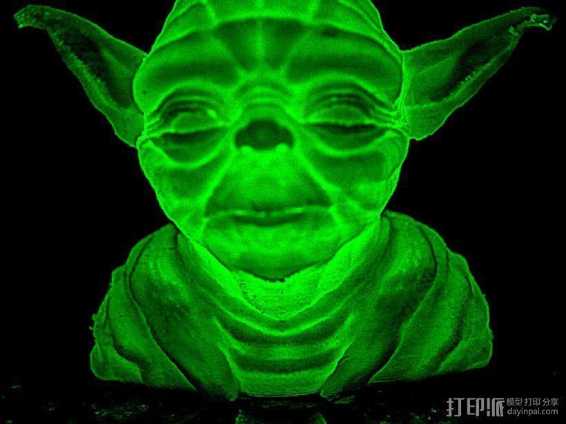 发光的尤达大师 3D打印模型渲染图