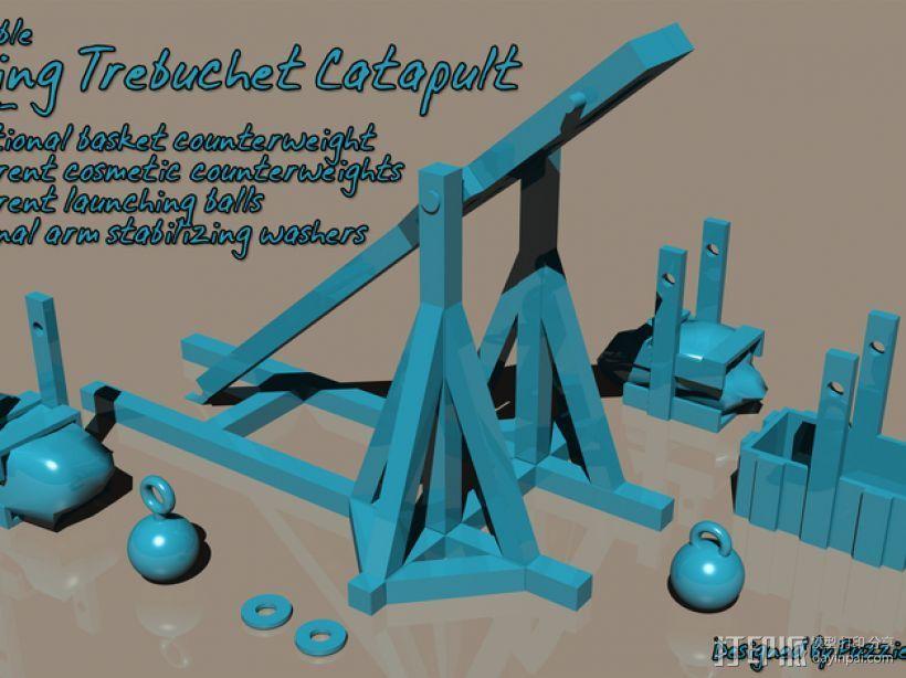 弹弓抛石机 3D打印模型渲染图